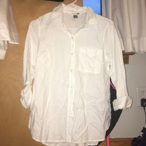 woman's white button down blouse